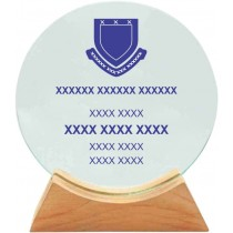 Round Glass Shield with Wooden Base (14cm)