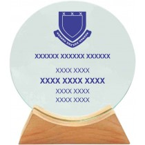 Round Glass Shield with Wooden Base (16cm)